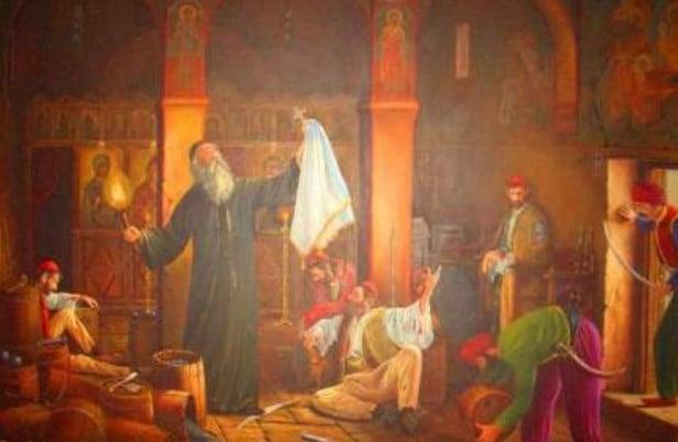 Η  ανατίναξη στο Κούγγι Σουλίου. Ο καλόγερος που θυσιάστηκε όταν οι Σουλιώτες αναγκάστηκαν να παραδώσουν τα όπλα τους στους Τούρκους και να φύγουν από τον τόπο τους