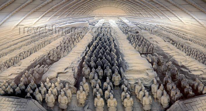 Sculpture of the Terra Cotta Warriors, Xian, China.