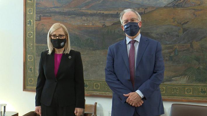Η Πρόεδρος της Εθνοσυνέλευσης της Αλβανίας συναντήθηκε με τον Πρόεδρο της Βουλής των Ελλήνων